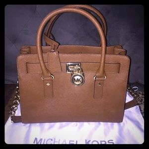 Michael Kors Hamilton Satchel Bag with Gold Chain